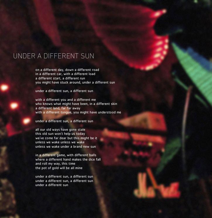 Lyric brand new you won t know lyrics : Under A Different Sun – Neal Hoffmann's Amphibic Records