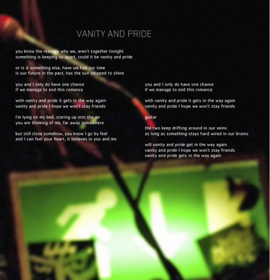 Vanity and Pride art-lyrics